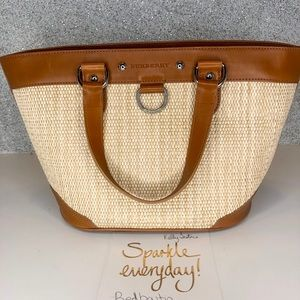 Burberry straw rattan woven raffia tote leather